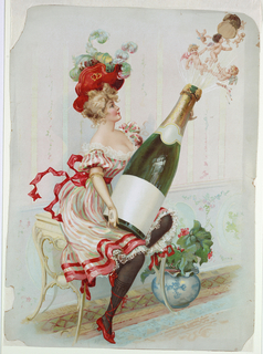 Vertical rectangle. Woman in frilly dress and plumed hat holding oversize bottle of champagne.