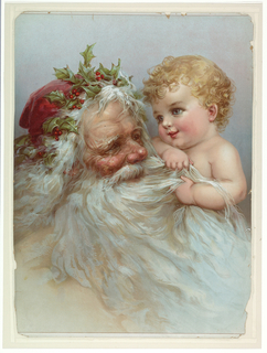 Vertical rectangle. Santa Claus with red cap and holly in his hair, looking at a baby on his left shoulder.