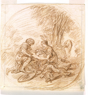 A wounded soldier lying on the ground is assisted by a man wearing a turban (left) and a woman (right). The group is situated in a landscape, under a tree.  At right a horse is shown and in the foreground at left, lies a discarded shield.   A circular border is suggested implying that this composition was envisioned as a tondo.  See Curatorial Notes field.