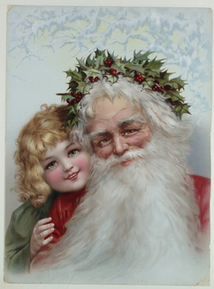 Vertical rectangle. Santa Claus with holly in his hair; a young girl in green looks over his right shoulder. Icy boughs at top.