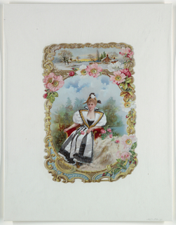 Vertical rectangle. At top, villiage snow scene. Center, a young girl seated in a red chair, holding a rose. Margins elaborately embossed and perforated.
