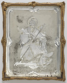"Rectangular glass panel with shaped engraved borders on matt ground surrounding engraved subjects of Pope Julius II seated above a figure probably representing the evils overcome by his reforms; over the legend: ""S. JULIUS PONT. MAX.""; within narrow scrolled frame of gilded wood."