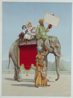 Vertical rectangle. Three children riding an elephant with a mahout who carries a blank signboard. Another mahout in a lungi, carrying a goad, leads the elephant by the ear.