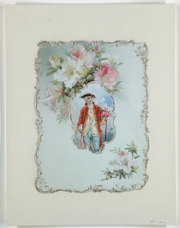 Vertical rectangle. Three-quarter length view of a young boy holding a bouquet of roses. Azeleas at top and lower right. Ornate edging, embossed.