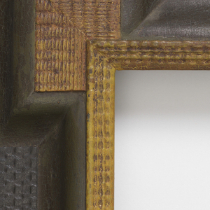 Rectangular form with molded and ridged golden inner frame border and four golden rectangular bosses in the corners of the border.