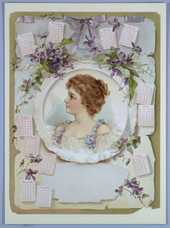Vertical rectangle. Months of the year and violets surrounding a portrait of a young  girl.