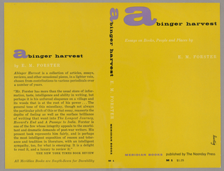 The bookjacket has a gold background. The title, author and publisher names are written vertically down the spine. On the back cover is athe title, author name and a review of the book. Produced for Meridian Press.