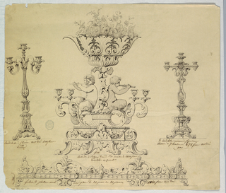 At center, a stand with scrolling feet supports four candlesticks emerging from scrolling acanthus leaves. Two fauns play the flute. Between them, a scrolling stem which supports a bowl of flowers. This is flanked by two alternative designs for candlesticks. Below, detail for an ornamental border.