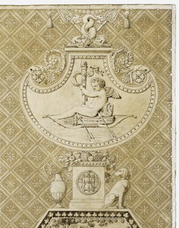 "Printed cotton textile design with four vertical rows of  cameo medallions (octagonal, oval, circular, hexagonal, etc.) each displaying a classicized scene against a pattern of rosettes within a diamond grid.   Above center to the left, the ""Merchant of Love"" (which gives the piece its name) is in the octagonal medallion: a seated woman, at the right, grasps a cupid by its wings to remove it from its cage to show to the two women at the left.  This medallion is surmounted by a pair of swans; one holding a panpipe, the other a triangle on a ribbon dangling from its beak.   Beneath, is a ""cameo relief"" of the infant Hercules riding a lion.  At the upper right, a cupid sails on a boat made of his quiver and bow,  with arrows for oars, and his torch as the mast.  At the lower right (within a hexagon), Venus consoles the youth Cupid, while Time breaks his bow.  At the left, a butterfly (symbol of Psyche), above a flower basket, which is above a pair of embracing cupids.  To the right of lower center: fragmented image of Cupid and Psyche embracing.    Medallion dimensions (including respective borders):  Cupid Seller  19.5 x 26 cm (7 5/8 x 10 3/16 in.); Time breaking Cupid's bow  19.5 x 26 cm (7 5/8 x 10 3/16 in.); Cupid on ""Bow/boat"" 16.5 x 22 cm (6 1/2 x 8 5/8 in.); infant Hercules/lion 17.2 x 22 cm (6 3/4 x 8 5/8 in.); Cupid sharpening arrows 13 cm diameter (5 1/16 in.); butterfly, without border, c. 4.5 cm diameter (1 3/4 in. diameter)."