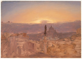 A statue with the figure of a woman is supported  by a column, the lower  part of which sticks in the earth in the center of the foreground. Earth is indicated in the right foreground, houses in the left. A cloud bank covers the lower part of the sky. Similar view to 1917-4-610-a.