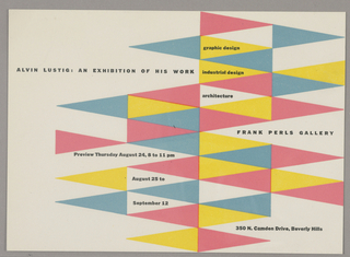 The invitation has a white ground with yellow, blue, and pink triangles, with black sans serif text in all capital letters on top of them. Text is divided into group.