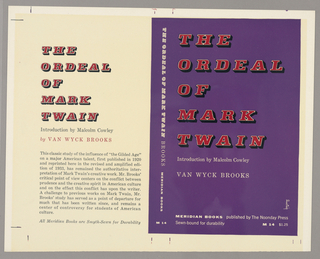 The front cover has a purple background and the back a pale yellow one. On the spine of the book are the title, author and publisher names printed vertically. On the back cover are the title, author and synopsis of the book. Produced for Meridian Press.