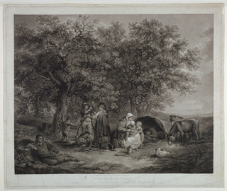 Gypsies camping at the border of a forest. At right two donkeys and a small tent. In center, two gypsies making a fire. Several figures.