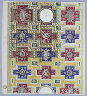 View of a coffered ceiling with papal coat-of-arms.