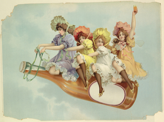 Horizontal rectangle. Four young girls sitting on an oversize bottle. Girl on left holds ribbon reins, one at right holds glass aloft.