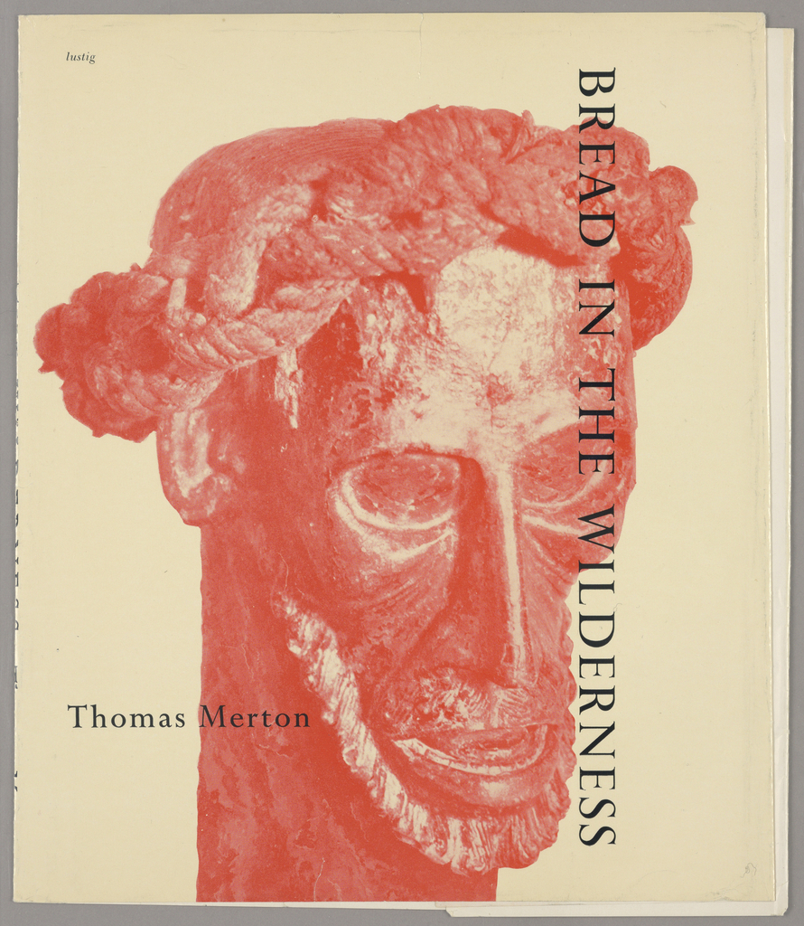The cover has a pale yellow background with an image of a sculpted head printed in orange. The inside flaps discuss the book and other books by Thomas Merton.