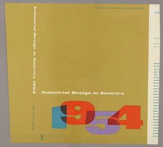 Printed on tan ground the cover for Industrial Design in America, 1954.