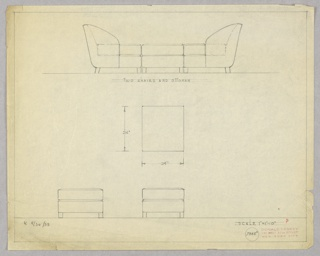Drawing, Two Chairs & Ottoman
