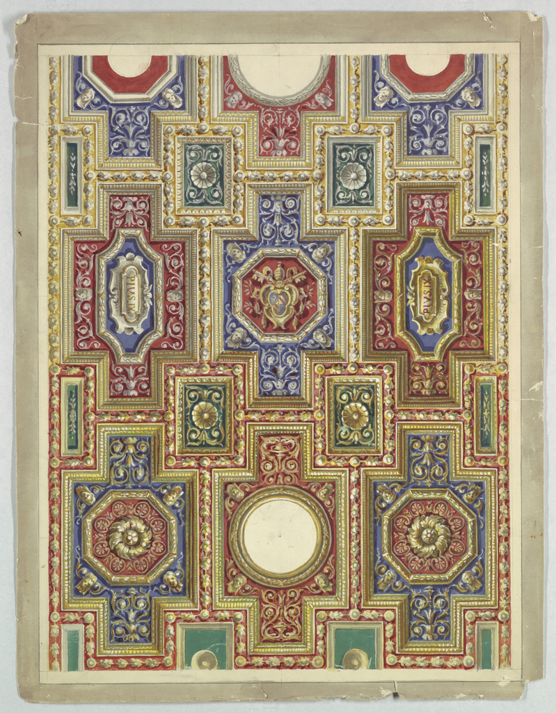 Portion of a painted coffered ceiling with rosettes and lozenges with the name Pius IX.