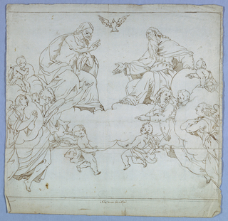 Two figures, most likely Christ and God, are in conversation center top. Angels and cherubs surround the two figures on clouds. Bird symbolizing the holy spirit flies in between the two figures.