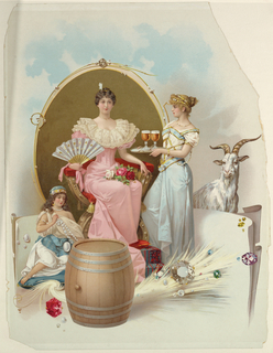 Vertical rectangle. A woman sitting on a throne and holding a fan, being offered two glasses of beer on a tray. Goat in background, keg in foreground.