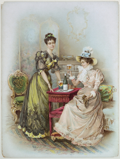 Vertical rectangle. A woman in yellow stands with her hands resting on a small red table, upon which is a tray with bottle and glass. Seated woman in peach-colored dress wearing a hat holds a glass, her foot on a footstool.