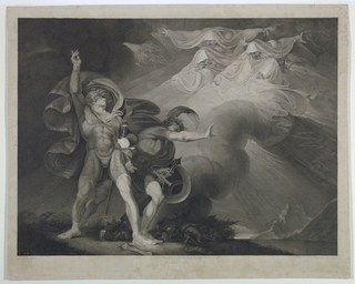Scene from Shakespear's Macbeth, Act I, Scene 5. The Three Furies appear in the sky to Macbeth and Banquo in an open landscape.