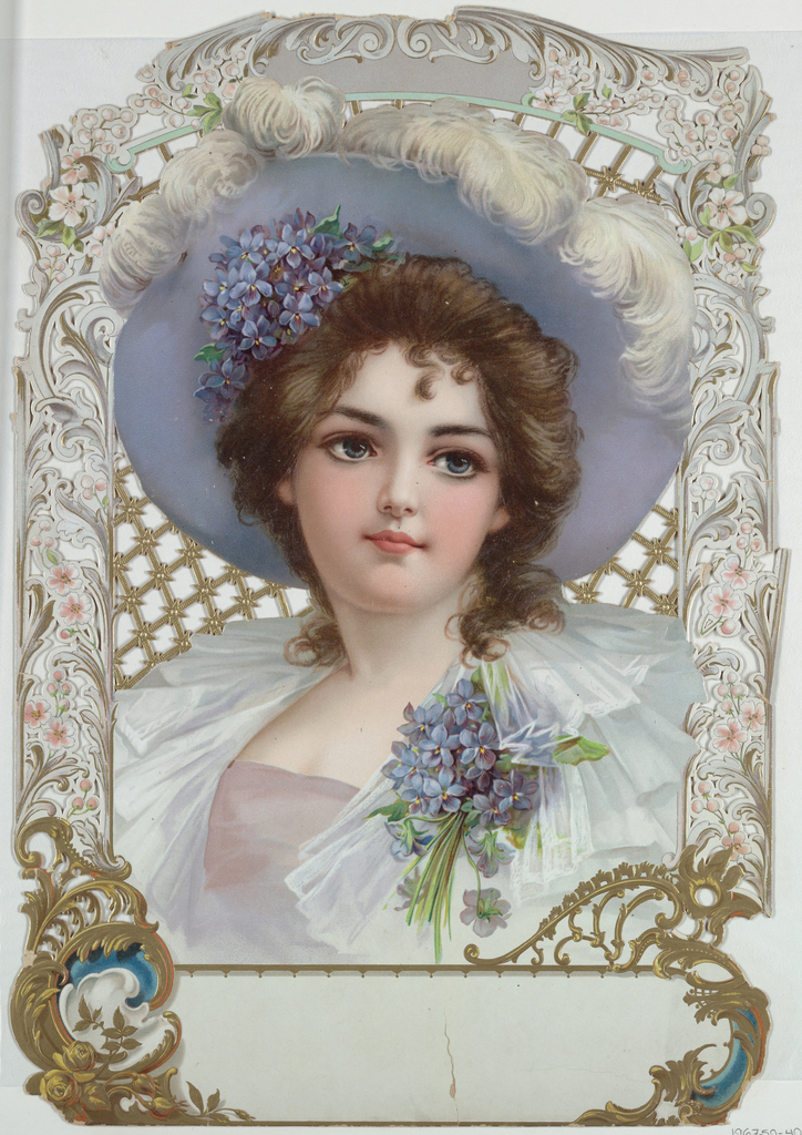 Vertical rectangle. A girl in a blue hat with white ostrich plumes, wearing a bunch of violets in her hair and as a corsage. Elaborate scroll design on border, perforated and embossed. Space for legend at bottom.