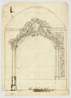 Arch with elaborately carved overdoor composed of putti, and a crowned coat-of-arms.