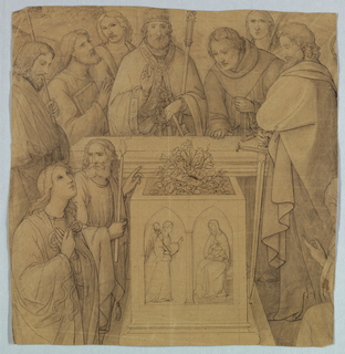 Nine apostles surround a sepulcher where Virgin Mary is buried. In the front, a relief of the Annunciation is depicted.