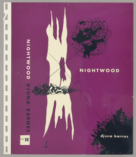 The cover has a purple background with one large solid white abstract shape and smaller black designs layered over the purple background. Two black lines intersect over the white shape, forming an X. The title and author are written on the cover. 