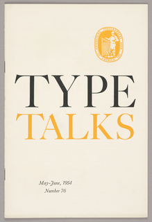 On the cover is the logo in yellow for the Advertising Typographers Association of America, Inc of a man working at a drafting table with the letters ATA superimposed. The booklet has 16 pages and contains text and some images. The back cover lists nationwide members.