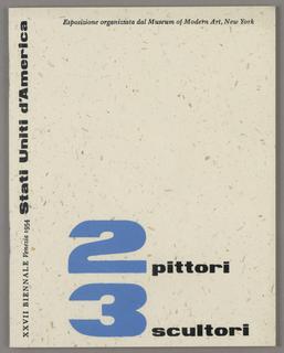 Booklet, Booklet for 2 pittori, 3 scultori, XXVII Biennale, Venice 1954
