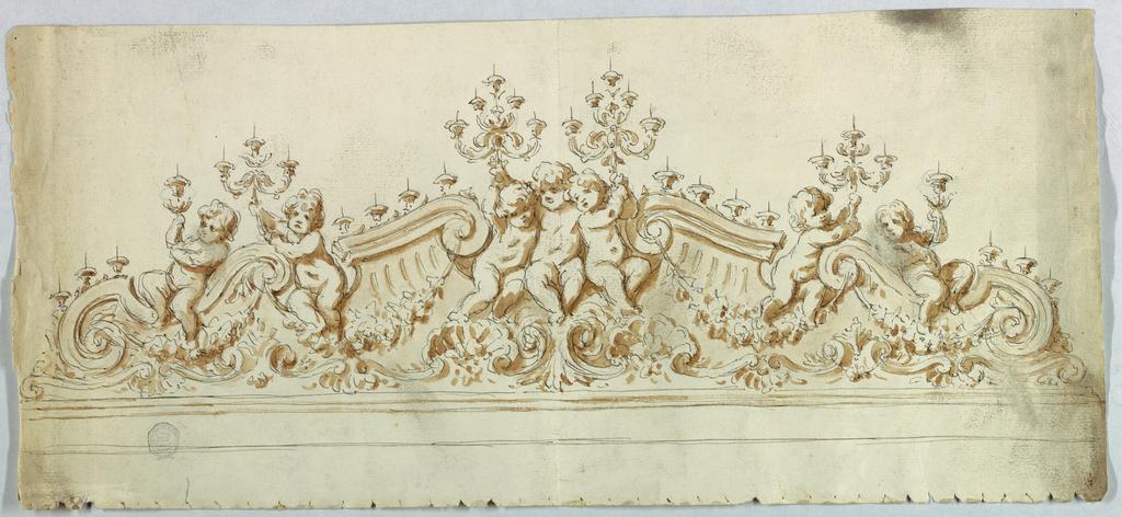 A pediment shape broken to house seven putti, each holding aloft a candelabra. Scrolls and shells below.