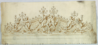 A pediment shape broken to house seven putti, each holding aloft a candelabra. Scrolls and shells below.