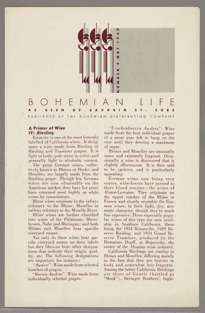Newsletter, Design for Bohemian Life Newsletter, May 9, 1940