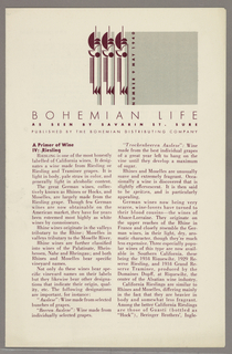 The top of the cover has a grey box on the right with a grey and burgundy geometric design on its left side. The date is vertically imprinted on the left edge of the grey square. The newsletter discusses wine and food topics. There is text on all sides of the fold-out.