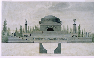 Design for a sepulchral monument.  The sheet is divided into two parts.  The upper portion depicts the elevation of a domed/vaulted building, positioned on a multi-leveled platform.  Flights of stairs lead up to the building (located on the third level).  On the second level two fluted columns stand on either side of the building.  They are toped with figures standing on spheres.  At the first level of the platform there are two statues standing besides censers, and like the columns, these sculptural groupings are located on either side of the building.  There is long horizontal freeze located at the center of the first level of the platform.    The lower portion of the sheet depicts a half of the plan for the structure.