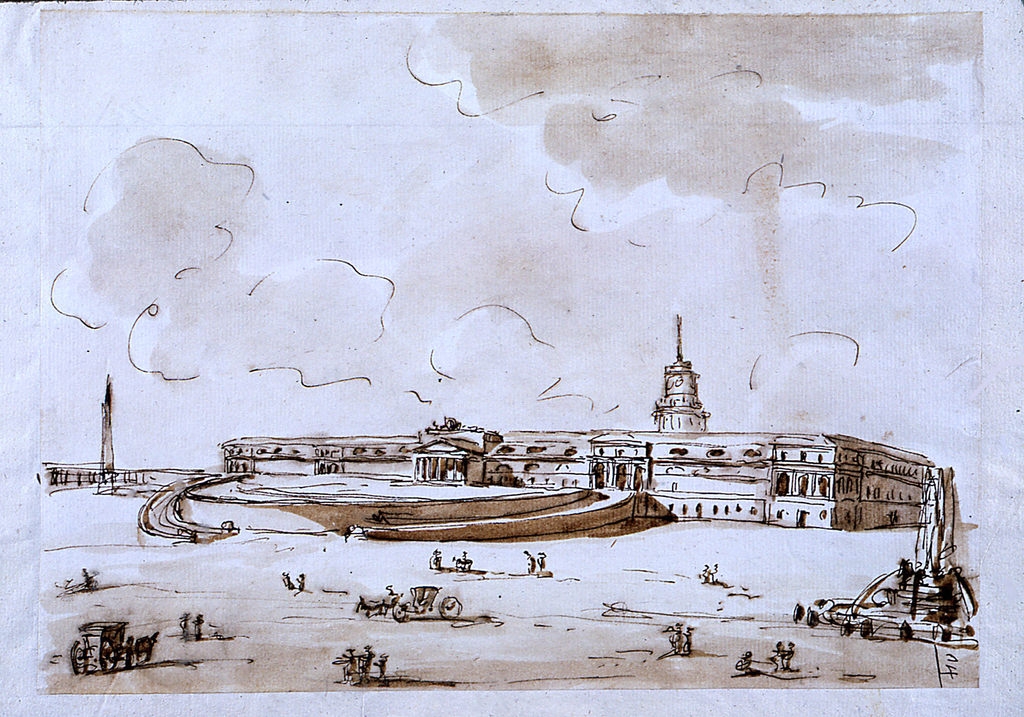 Large building in bare landscape; fountain on right and some carriages.