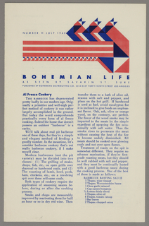 The top portion of the cover has a red and blue geometric design. The date is printed at the upper left. The newsletter discusses cooking and recipes. There is text on all four sides of the fold-out.