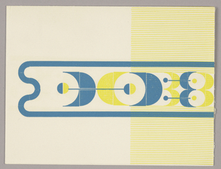 Divided into two vertical registers. Right register, thin yellow horizontal stripes. Starting at right center and stretching across page, organic form outlined in blue filled with geometric forms in yellow, blue and white.