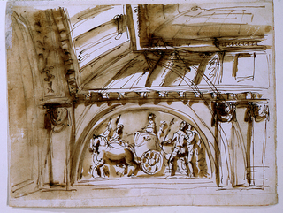 Horizontal rectangle. One quarter is shown. A hermae supports the panel of an arch. Two hermae supprot at right an entablature, which is parallel to the arch at left. Between the supports is a semi-circular representation of a chariot and soldiers. The attic is shown from below, over the entablature. A pointed arch was sketched first.