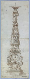Octagonal base. The shaft consists of a pedestal showing a circular medallion of Christ, seated laterally, and lambrequins under a broken pediment, of a low section with the half-figure of an angel and heads on columns, of a section with seated figures in aedicules, a pediment with a representation of a Madonna and the child; laterally are busts of men carrying flower baskets on their heads. On top stand two women and two children on the base, on which the bowl with a thorn stands on a short shaft.