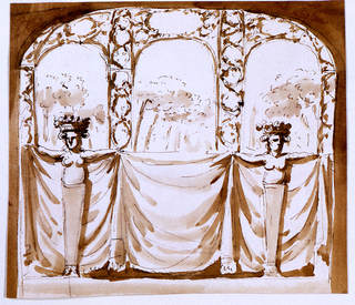 Two female terminal figures in front support a drapery with their extended arms.  A trellis architecture with three openings through which trees are visible forms the upper part of the decoration.  Usual background.