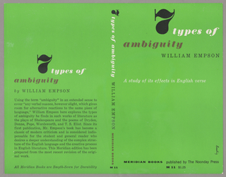 The bookjacket has a green background. The title, author and publisher are written vertically down the spine. The back cover has the title, author and synopsis of the book. Produced for Meridian Press.