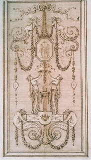 A design for a decorative panel with vertical composition.  From the bottom up: two sea creatures (mermen) carry a base upon which two women stand beside an altar with a burning flame.  The women are raising a wreath directly above the flame.  Next are garlands on which hangs an octagonal medallion, with an image of two sacrificing women.  Two half figures of winged children suspend the medallion from a long string/ribbon.  The composition ends with a decorative.  The panel is inscribed within a frame.