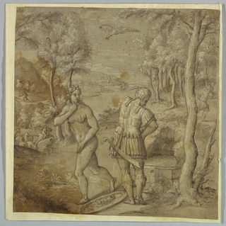 Possibly Perseus and Andromeda. Landscape with man in classical armor and nude woman. At their feet, a shield with Medusa's head. Above, a Pegasus flies away.
