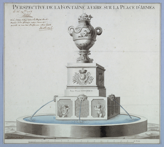 Circular bsain into which the water pours from masks in the top center of a base which is also decorated with reliefs of source and water dishes. A pedestal with an urn, the handles of which are formed by dolphons, stands on the base. The front side of the pedestal shows the royal French coat of arms.