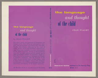 The bookjacket has a purple background. The author, title and publisher are written vertically down the spine. On the back cover are the title, author's name and a synopsis of the book. Produced for Meridian Press.