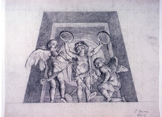 Drawing, Three Putti with Tambourines and Trumpets, Design for Lunette of the Sala delle Muse, Museo Pio-Clementino, Vatican